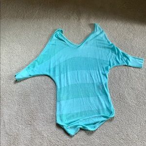 Teal Mesh Stripe Express Batwing Shirt